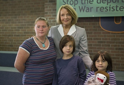 M.P. Peggy Nash with war resister Kimberly Rivera and her children Christian and Rebecca